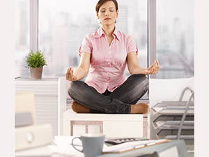 meditate on top of desk